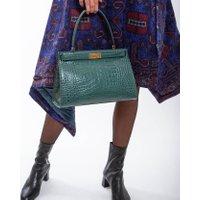 Jacques Loup FR - Lee Radziwil - Sac en cuir forme trapèze avec une anse - Vert  sacs de marque en promos
